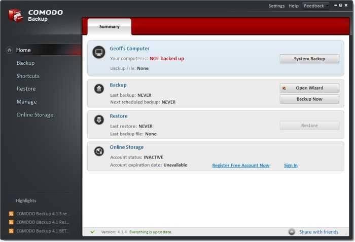 تحميل برنامج النسخ الاحتياطى Comodo Backup للكمبيوتر برابط مباشر