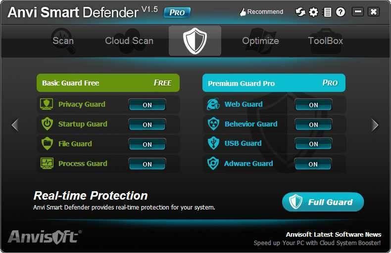 تحميل برنامج مكافحه البرامج الضارة ومكافحه التجسس Anvi Smart Defender للكمبيوتر