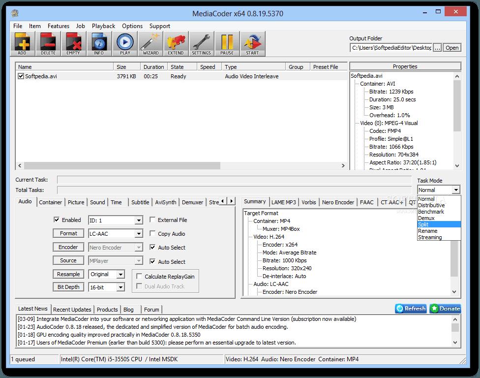 تحميل برنامج تحويل وضغط صيغ ملفات الصوت والفيديو MediaCoder للكمبيوتر