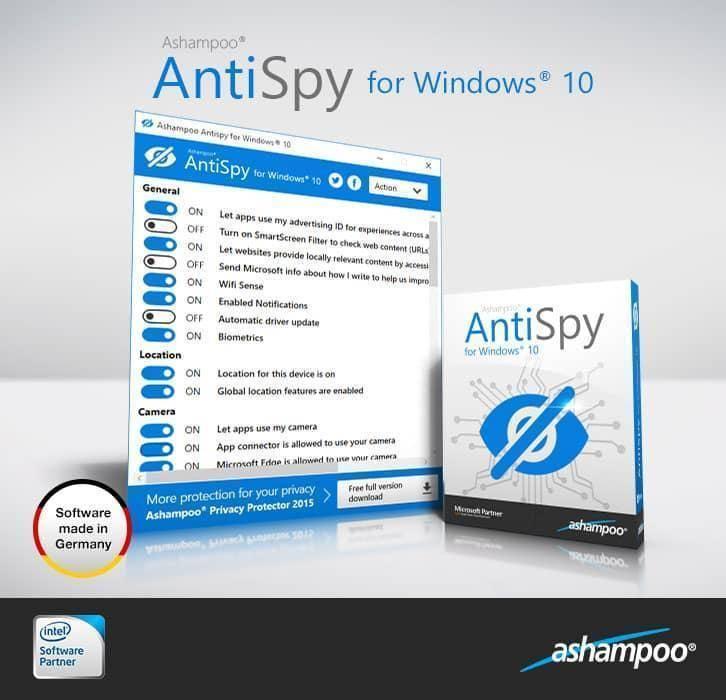 تحميل برنامج الحماية من التجسس والاختراق Ashampoo AntiSpy للكمبيوتر